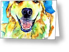 Golden Retriever Portrait Greeting Card by Christy  Freeman