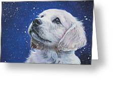 Golden Retriever Pup In Snow Greeting Card