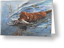 Golden Retriever With Duck Greeting Card