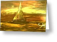Golden Sailboat Days Greeting Card