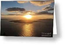 Golden Santorini Sunset Greeting Card