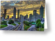 Golden Skies Atlanta Downtown Sunset Cityscape Art Greeting Card