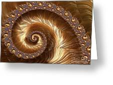 Golden Sparkling Spiral Greeting Card