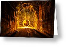 Golden Spinning Sphere Greeting Card