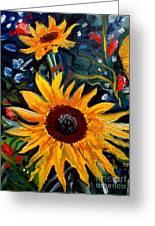 Golden Sunflower Burst Greeting Card