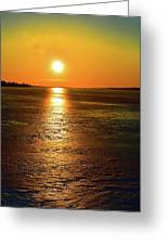 Golden Sunset Light On The Ice Two  Greeting Card