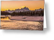 Golden Teton Sunset Greeting Card