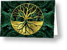 Golden Tree Of Life Yggdrasil On Malachite Greeting Card