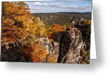 Golden Veil Over Rocks. Saxon Switzerland Greeting Card