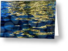 Golden Water With Rocks Greeting Card