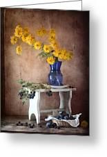 Goldenglow Flowers In Blue Vase Greeting Card