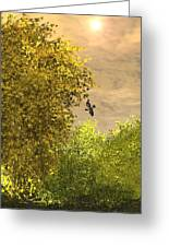 Goldfinch And Forsythea Greeting Card
