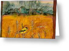 Goldfinch In The Wheat Greeting Card by Carolyn Doe