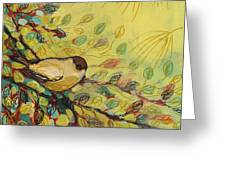 Goldfinch Waiting Greeting Card by Jennifer Lommers