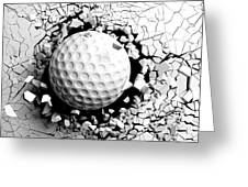 Golf Ball Breaking Forcibly Through A White Wall. 3d Illustration. Greeting Card