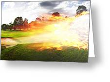 Golf Ball On Fire Greeting Card
