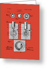 Golf Ball Patent Drawing Red Greeting Card