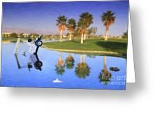 Golf Cart Stuck In Water Greeting Card