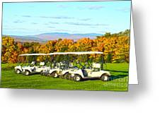Golf Carts On Vermont Golf Course Greeting Card