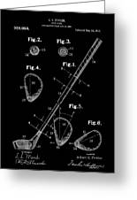 Golf Club Patent Drawing Black Greeting Card
