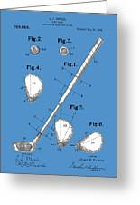 Golf Club Patent Drawing Blue Greeting Card