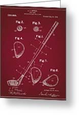 Golf Club Patent Drawing Dark Red Greeting Card