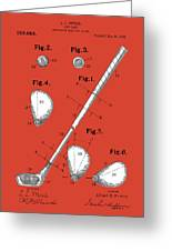 Golf Club Patent Drawing Red Greeting Card