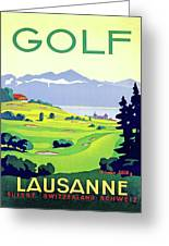 Golf, Lausanne, Switzerland, Travel Poster Greeting Card