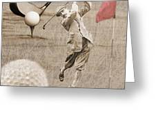 Golf Red Flag Vintage Photo Collage Greeting Card