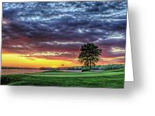 Golf Sunset Number 4 The Landing Reynolds Plantation Golf Art Greeting Card
