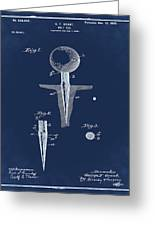 Golf Tee Patent 1899 Blue Greeting Card