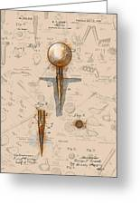 Golf Tee Patent Drawing Sepia Greeting Card