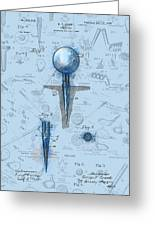 Golf Tee Patent Drawing Watercolor Greeting Card