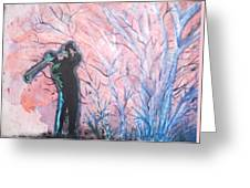 Golfer In The Pink For Par II Greeting Card