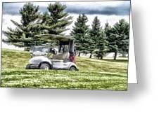 Golfing Before The Rain Golf Cart 03 Greeting Card