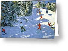 Gondola Austrian Alps Greeting Card by Andrew macara