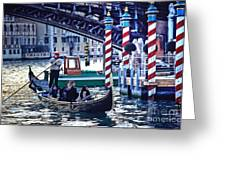 Gondola In Venice On Grand Canal Greeting Card