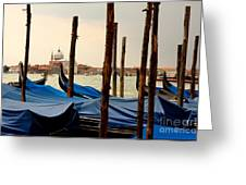 Gondolas And Poles In Venice Greeting Card