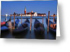 Gondolas And San Giorgio Maggiore At Night - Venice Greeting Card by Barry O Carroll