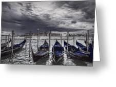 Gondolas In Front Of San Giorgio Island Greeting Card