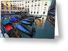 Gondolas In Orseolo Basin Venice Greeting Card