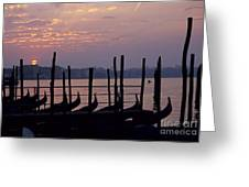 Gondolas In Venice At Sunrise Greeting Card