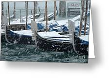 Gondolas In Venice During Snow Storm Greeting Card