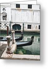Gondolas On A Canal In Venice, Italy Greeting Card