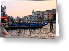 Gondolas On The Grand Canal In Venice In The Morning Greeting Card
