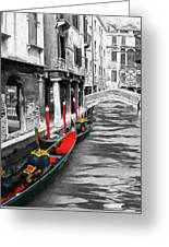 Gondolas On Venice. Black And White Pictures With Colour Detail  Greeting Card