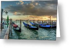 Gondolas Parked For The Evening Greeting Card