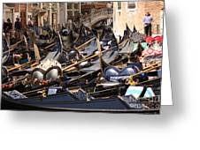 Gondolas Parked In Venice II Greeting Card