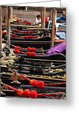 Gondolas Parked In Venice Greeting Card