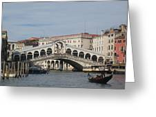 Gondolier Approching The Rialto Greeting Card